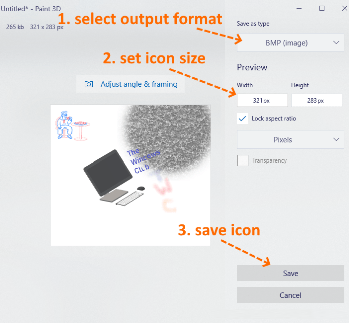 set icon format and size to save