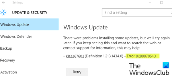 Windows Update error 0x80070543