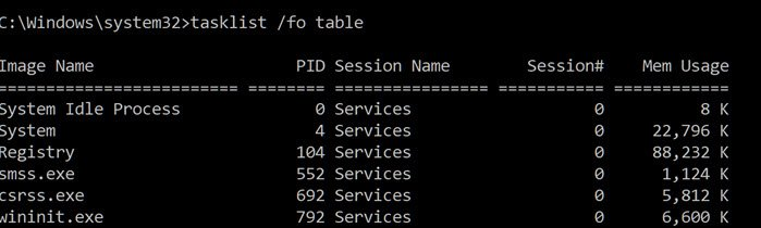 Task List Memory Usage