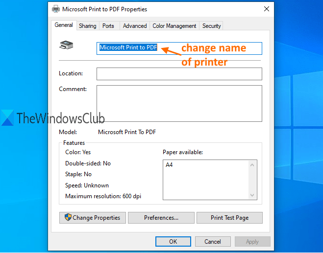 change name of printer and save