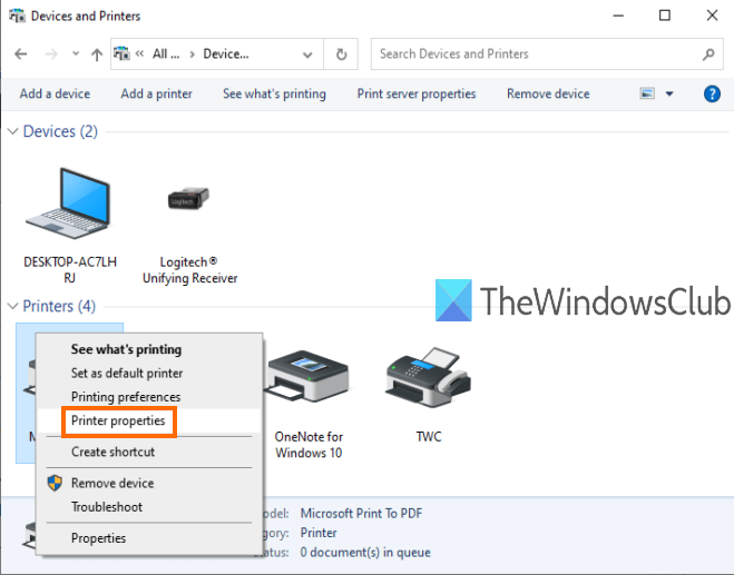 rename a printer in windows 10
