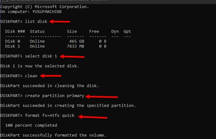 Fix Can't format USB Drive in Windows 10
