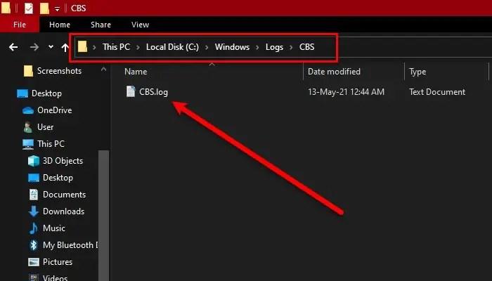 CBS.log file and fix CBS.log file error