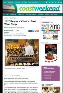 Coast weekend award for The Wine Shack