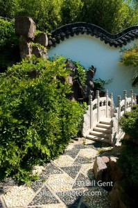 A small stone bridge in the Chinese Scholar's Garden, Staten Island