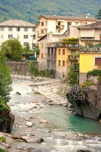The river Mera runs through Chiavenna, Italy