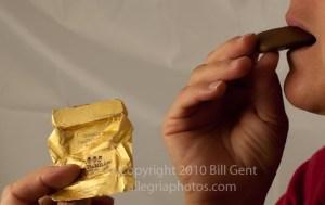 Eating Gianduiotti chocolates