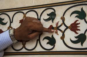 Inlaid precious stones decorate the exterior of the Taj Mahal