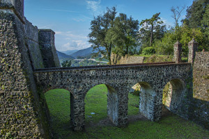 The access over the moat to the Brunella Fortress, Aulla, Lunigiana
