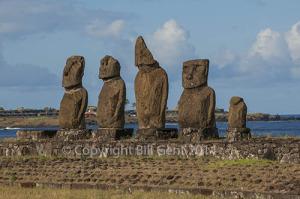 The five moai of Ahu Vai Uri at Ahu Tahai