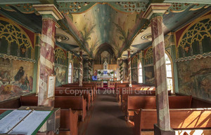 The interior of St. Benedict's, The Painted Church, Honaunau, Hawaii