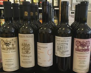 An array of bottles of Georgian ntural wine