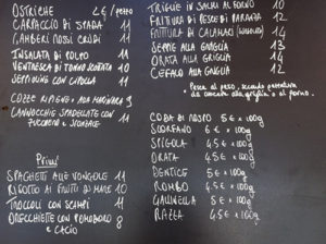 Menu at the Trabucco di Mimi