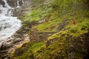 A mythical Hygdda at the waterfall