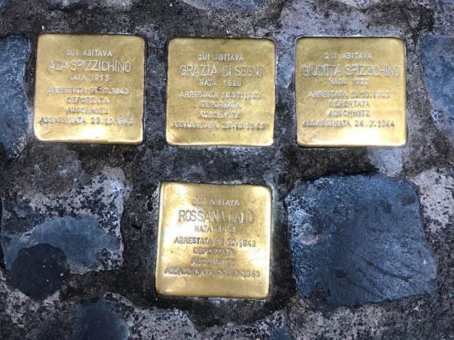 Four stumbling stones by Gunter Demnig