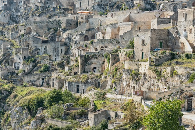 The caves dwellings of Matera in Sasso Caveoso.