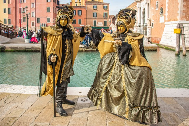 A pair of costumers outside the Arsenale