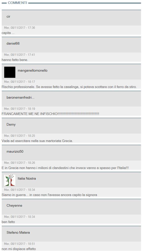Alcuni commenti relativi alla notizia dell'avvocato che ha subito l'aggressione di Alba Dorata (dal sito de Il Giornale)