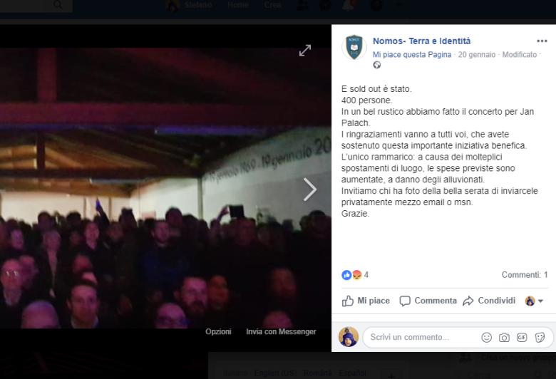 Foto del concerto a Verona organizzato dalla destra in onore di Jan Palach.