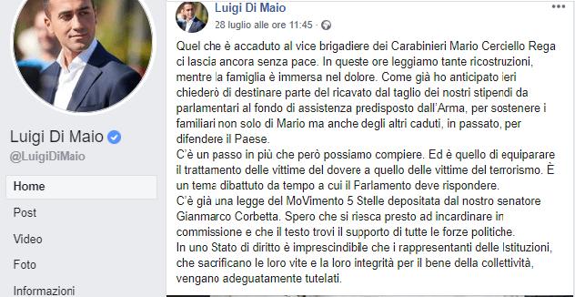 Il post con cui il vicepremier Luigi Di Maio ha commentato la morte del carabiniere Cerciello Rega.