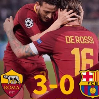 Roma-Barcellona finisce 3-0, rimonta storica per i giallorossi. Foto: twitter.com/OfficialASRoma