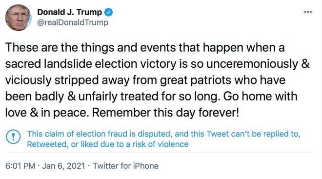 Il secondo tweet di Trump.