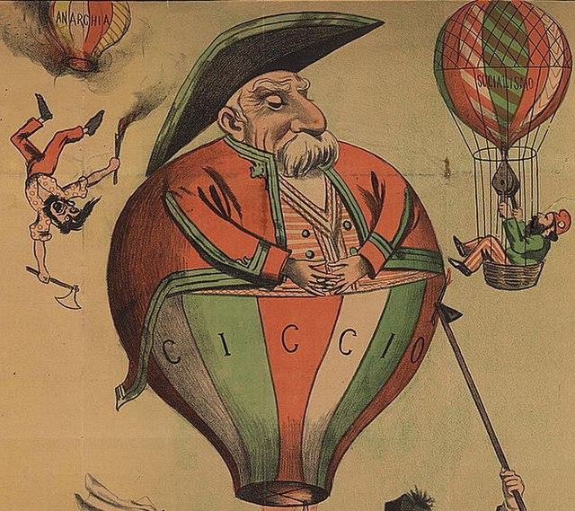 Una caricatura di Francesco Crispi, riferimento politico del nazionalismo italiano, raffigurato come una mongolfiera e circondato dal caos, 1895