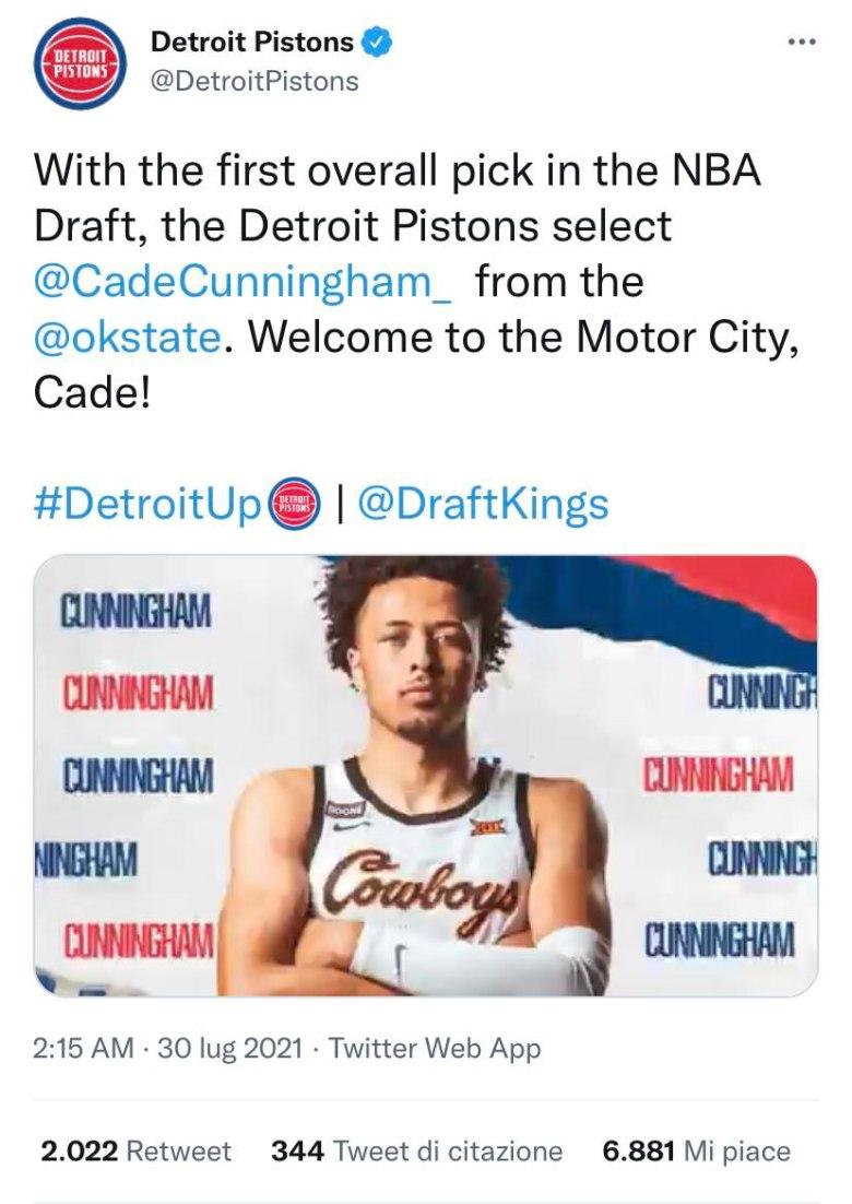 La prima scelta al Draft NBA: Cade Cunningham.