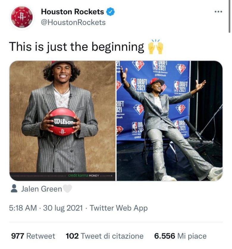 Jalen Green nei primi momenti da giocatore Rockets dopo il Draft NBA.
