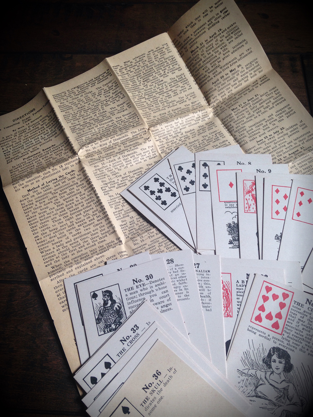 Vintage 1940's Lenormand Cards
