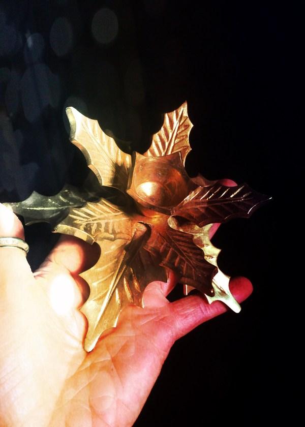 Vintage Brass Holly Candle Holder