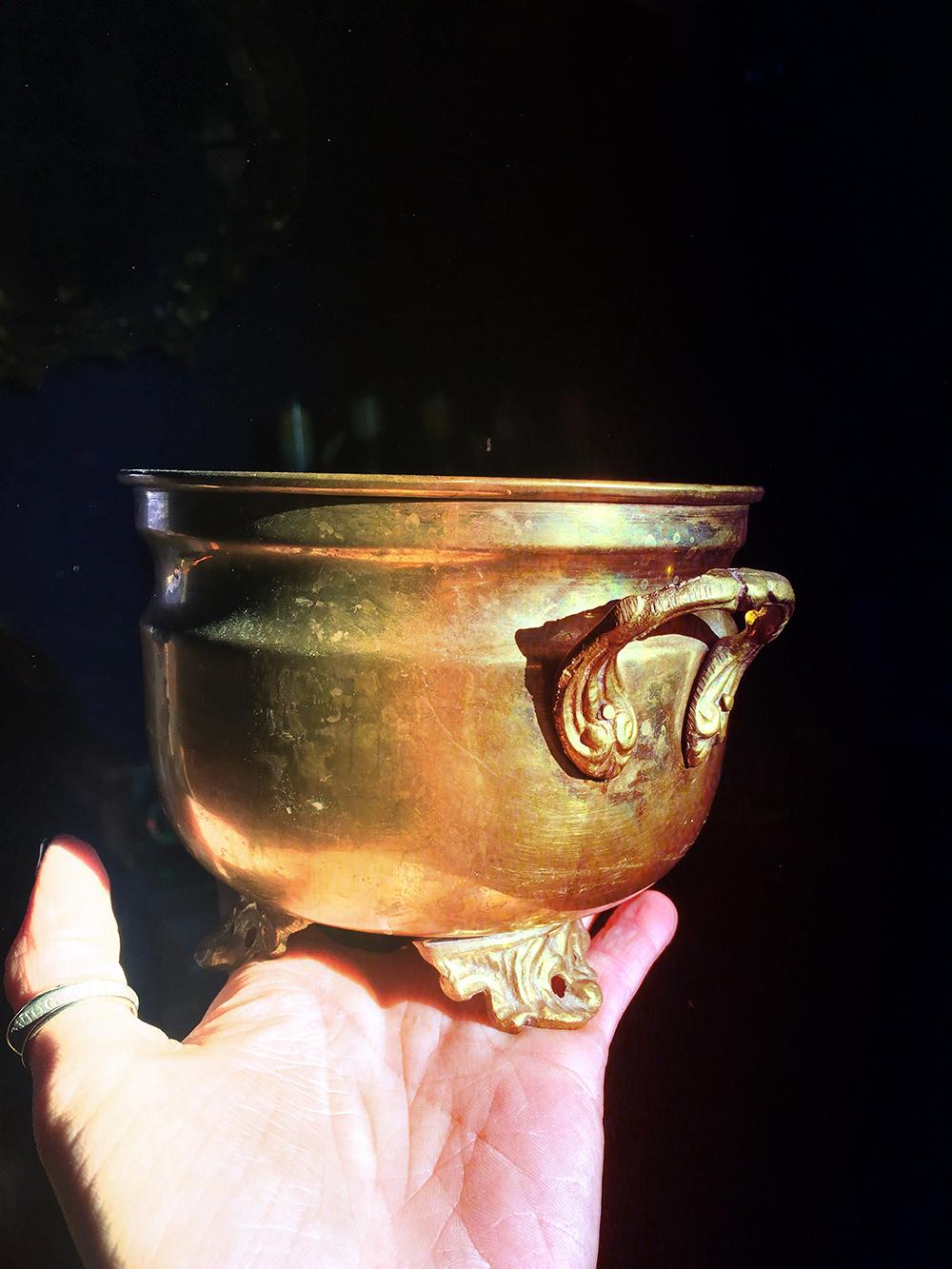 Vintage Brass Cauldron Large