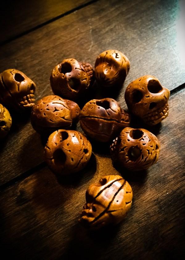 Hand carved Walnut Skull