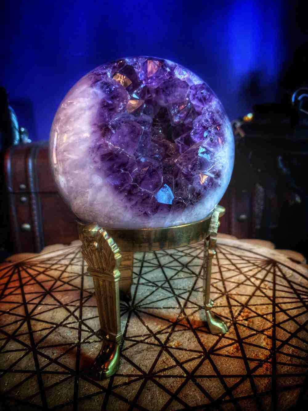 The Cats Eye Amethyst Sphere & Vintage Stand