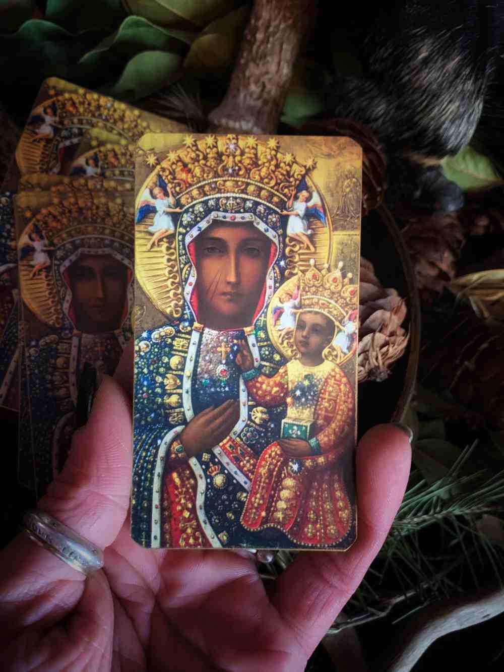Black Madonna Holy Card // Our Lady of Częstochowa Prayer Card