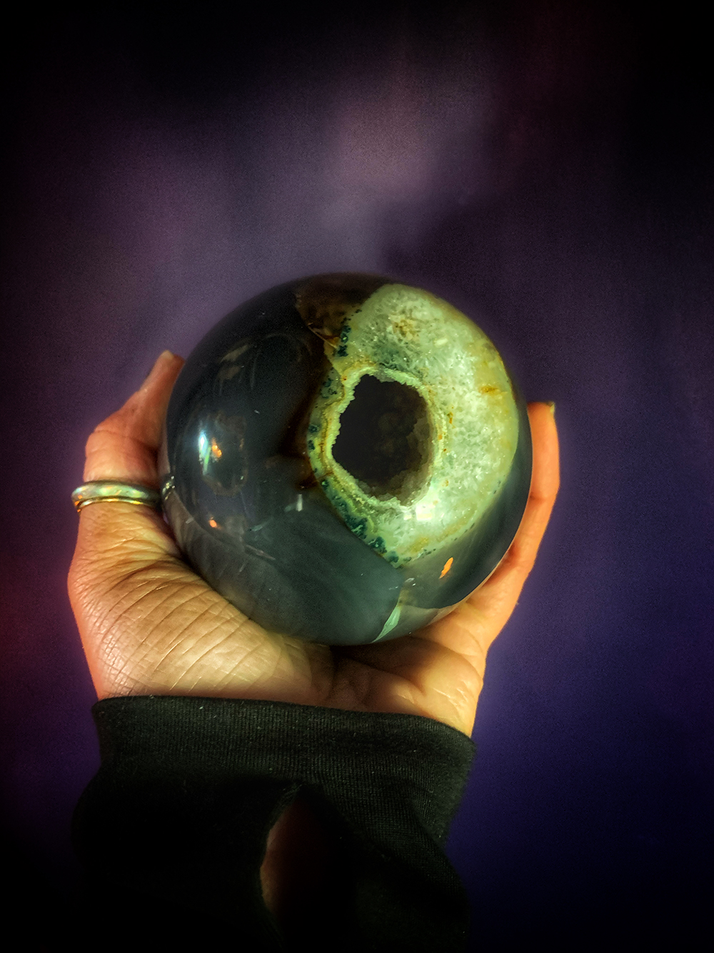 The Cats Eye Druzy Agate Geode Sphere & Vintage Stand