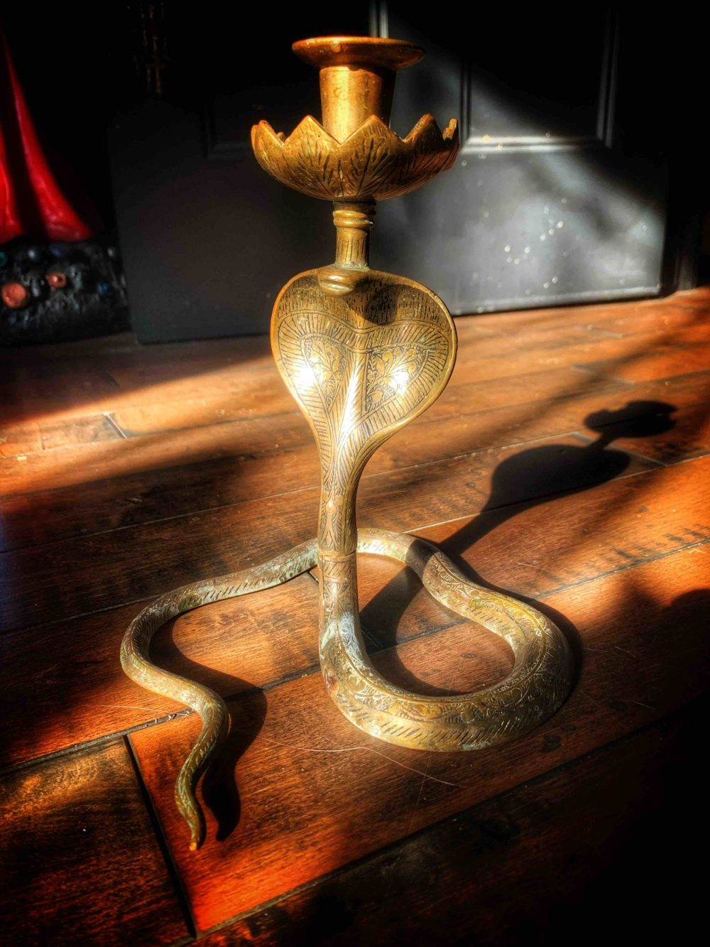 The Brass Snake Candlestick Vintage