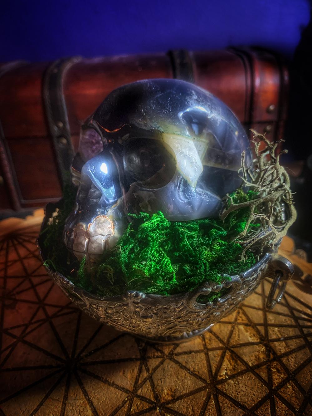 The Ritual Druzy Agate Altar Skull