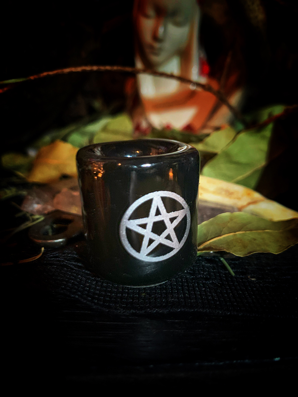 Altar Mini Candle Holder Pentacle 4in
