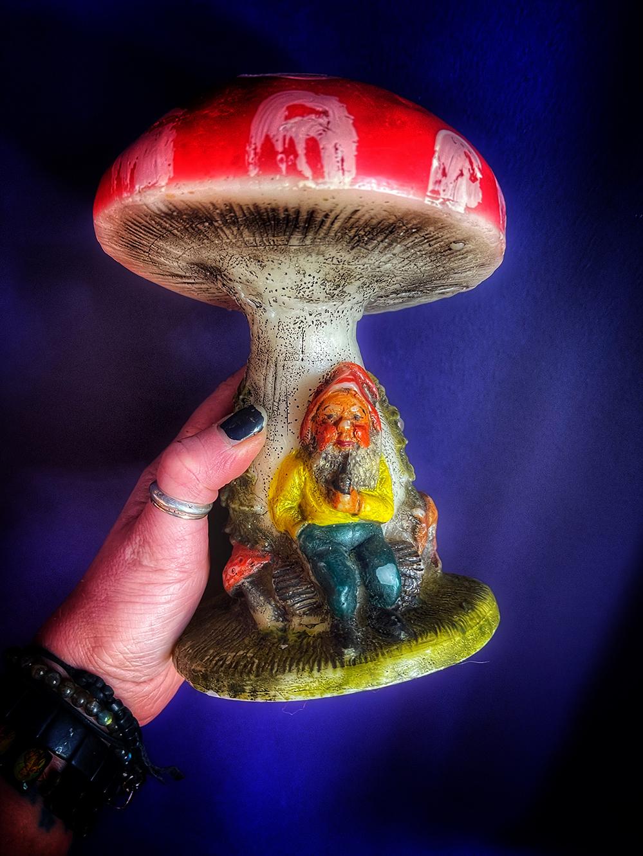 Gnome & Mushroom Candle Vintage