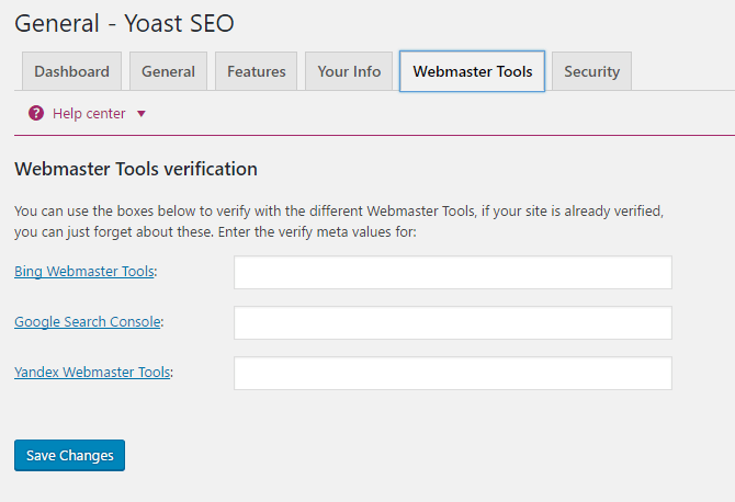 webmaster tools on Yoast SEO