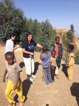 Janice with Ethiopian children