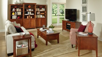 Whittier Wood Furniture McKenzie Living Room with Bookcases