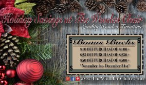 The Wooden Chair Holiday Bonus Bucks Coupon