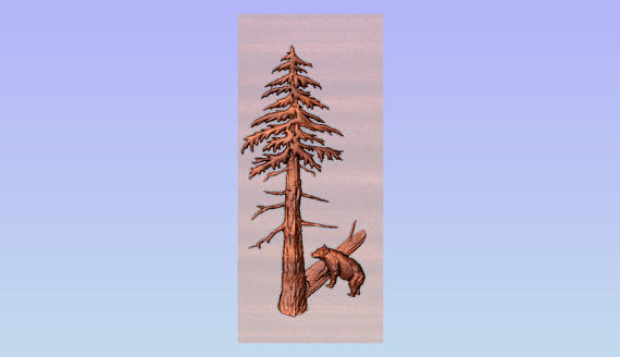 Carved Redwood Tree with Bear