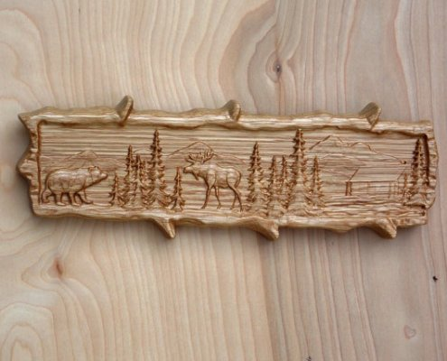 Carved Moose and Bear Cabin Wall Art