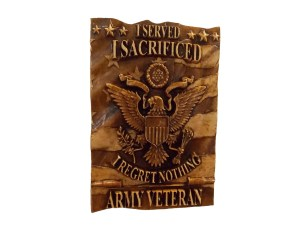 Carved Flag for Army Veteran