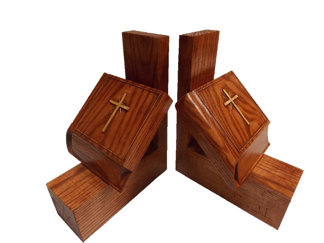 Gift for Pastor Wood Carved Bible Bookends