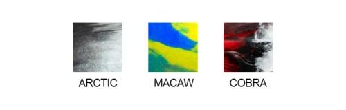 Jackson Kayak Color Swatches Arctic Macaw Cobra