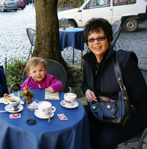 My daughter & my mom at a cafe in Orvieto